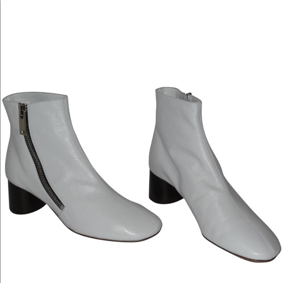 Celine White Curved Zip Ankle Boots
